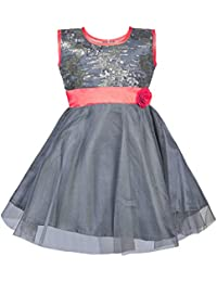ChipChop Kids Girls Partywear Grey Sequin and Net Dress - 1 to 2 Years, 2 to 3 Years, 3 to 4 Years, 4 to 5 Years, 5 to 6 Years, 6 to 7 years
