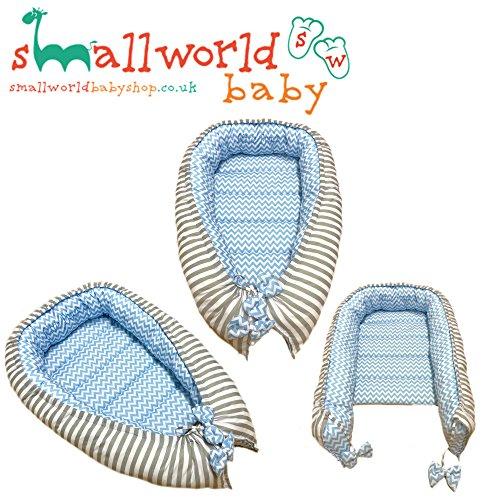 personalisierbar Jungen Grau gestreift und blau Zigzag Baby schlafen Nest Pod (am nächsten Tag Versand) (Personalisierte Schlafsack Jungen)