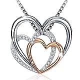 J.Rosée Collier Love Heart, avec pendentif en argent sterling 925 3A zircone cubique avec extension, cadeau de fin d'études