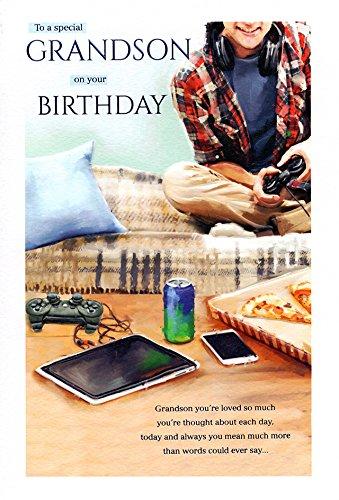 ICG Zur Silberhochzeit Grandson Geburtstagskarte-Young Boy, Video Games, Pizza & Smart Phone 22,9x 15,2cm