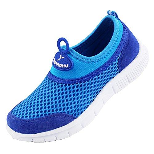 VECJUNIA Jungen und Mädchen Atmungsaktiv Leichte Mesh Sport Sneakers Flach Laufschuhe Blau 28 EU