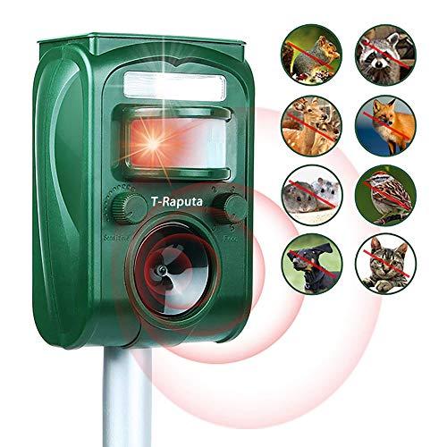 Traputa Repelente Gatos,Repelente ultrasónico para Animales, Exterior Resistente al Agua Repelente de Animales Ultrasónico con Carga Solar Sensor de Movimiento y Luz Intermitente Detector