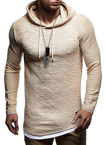 Leif Nelson Herren Kapuzenpullover Slim Fit Baumwolle-Anteil Moderner weißer Herren Hoodie-Sweatshirt-Pulli Langarm Herren schwarzer Pullover-Shirt mit Kapuze LN8120 Beige Large