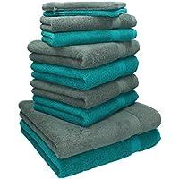 Betz 10 tlg Handtuch Set 2 Duschtücher 4 Handtücher 2 Gästetücher 2 Waschhandschuhe 100% Baumwolle Duschhandtuch Badetuch Handtuch Premium Farbe Smaragd Grün & Anthrazit Grau