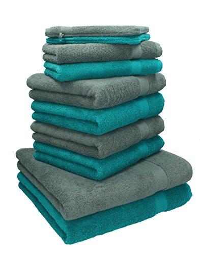 Betz 10-TLG. Handtuch-Set Premium 100% Baumwolle 2 Duschtücher 4 Handtücher 2 Gästetücher 2 Waschhandschuhe Farbe Smaragd Grün & Anthrazit Grau