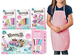 Chocolate Pen Candy Craft Real Cooking Chocolate Pen Deluxe Set Includes: Chocolicious Value Starter Kit Sweet Beats Treat Kit 2 Colored Refill Pouch Packs and Exclusive Pink Apron - Draw & Mold Candy Making