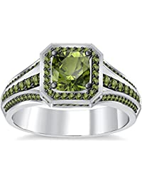 Silvernshine 4Ct Asscher Cut Peridot CZ Dimoands 14K White Gold Plated Engagement & Wedding Ring