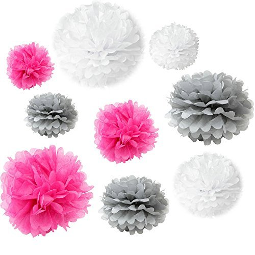 CS Mixed White Grey Fuchsia Hot Pink Tissue Pom Poms Paper Flower Wedding Pompoms Birthday Party Bridal Shower Favor Decoration by Somnr ()