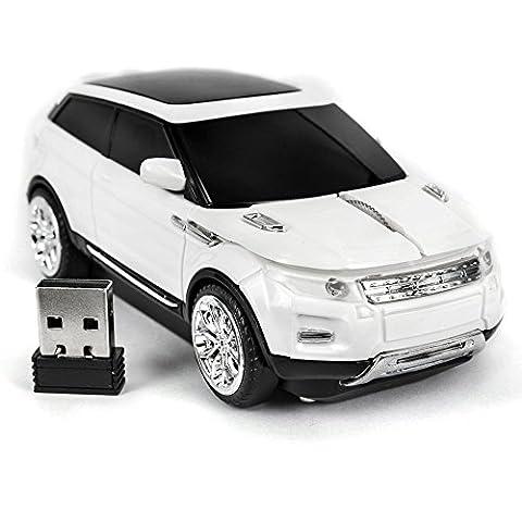 SPECTRONIX Wireless Car Mouse   Range Rover Shaped Optical & Ergonomic Design   Nano USB Receiver 2.4GHz 1600DPI 10 Meter Range for Laptops & PCs Plug & Play in 4 Vibrant Colours (White)