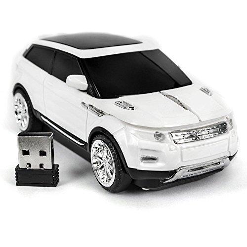 Spectronix mouse wireless per auto a forma di range rover ottico & design ergonomico, 2,4 ghz, con ricevitore usb nano 1600dpi 10 metri di portata per notebook pc & & plug play in 4 colori vivaci