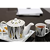 Kittens Tiger Pattern Family Tea Set Of 4 Bone China Cups With Kettle