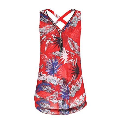 Ba Zha HEI Frauen Sommer Weste Top Sleeveless beiläufige Tank Bluse Tops Damen Schulterfrei Weiches Material Ladies Sommer Elegant Chic Oberteil Locker Bluse Tops T-Shirt (rot C, S)