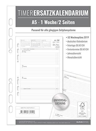 Timer Ersatzkalendarium A5 1 Woche - 2 Seiten 2019