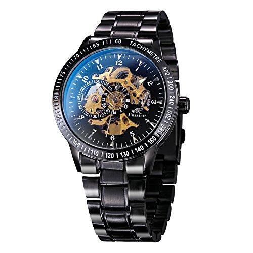 TREEWETO Herren Uhren Elegant Klassisch Automatik Mechanische Armbanduhr Edelstahl Wasserdicht Skelett Schwarz Uhr