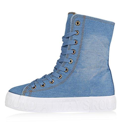 Leicht Gefütterte Damen Sneakers Boots Denim Sneakerstiefel Plateau Hellblau