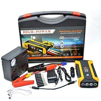 Feng Jump Starter de 20000mAh, 1000A Batería Arrancador de Coche (Batería Externa Recargable, 4 Puertos USB, LED Flashlight, Multifunción, con Pinzas Inteligentes) Compresor de Aire