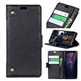 FugouSell Nokia 3.1 Plus Leder Hülle, Premium PU Leder etui Schutzhülle Tasche mit Kippständer, Slim Flip Case Cover für Nokia 3.1 Plus (Schwarz)