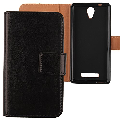 "Gukas Housse Coque Pour Archos 50 Platinum 4G 5"" 2016 PU Leather Cuir Etui Case Cover Flip Protection Portefeuille Wallet Noir"