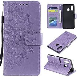 HTDELEC Custodia Samsung Galaxy A20E Viola Premium Pu Portafoglio Protettiva in Pelle,Anti-Slip Slot Portafoglio Flip Protettivo Dell'ente Completo Slim Fit Cover(T-Viola)