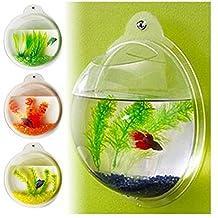SuperAqua Fish Wall Mounted Bowl/Aquarium Wall Hanging Tank/ Plant Decoration Bubble Bowl (Jet Black Gravel)