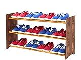 Schuhregal Schuhschrank Schuhe Schuhständer RBS-3-90 (Seiten dunkelbraun, Stangen in der Farbe erle)
