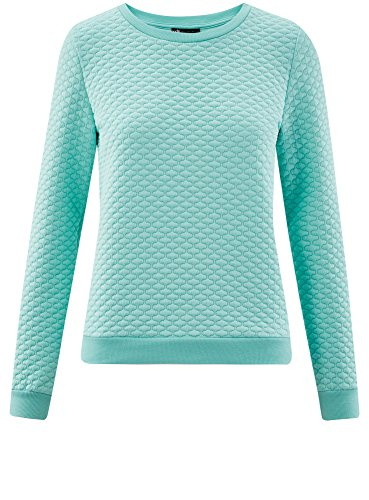 oodji Collection Femme Sweat en Tissu Texturé Turquoise (7300N)