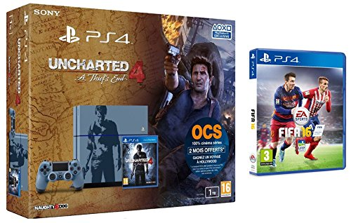 Pack PS4 1 To + Uncharted 4: A Thief's End - édition limitée + Fifa 16