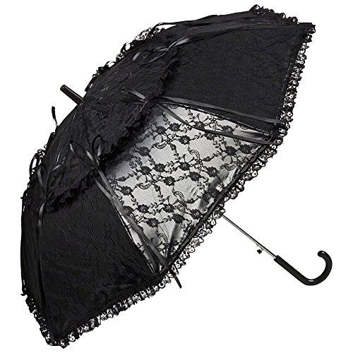 VON LILIENFELD Regenschirm Damen Sonnenschirm Automatik Brautschirm Hochzeitsschirm Lackleder Optik Spitze Luna schwarz