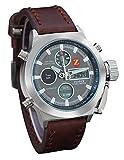 Zeiger montre pour homme deux Fuseau horaire Alarme chronographe Chronomètre analogique et affichage numérique montres pour homme