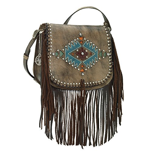 American West Pueblo Moon Collection Fringe Crossbody Flap Bag Distressed Charcoal Brown