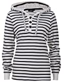 Maritimes Streifensweatshirt | Leichter Kapuzenpullover | Damen | Mit Knopfleiste | Hoodie | Bequem | Gemütlich | Modisch | Kapuze | Weißgestreift
