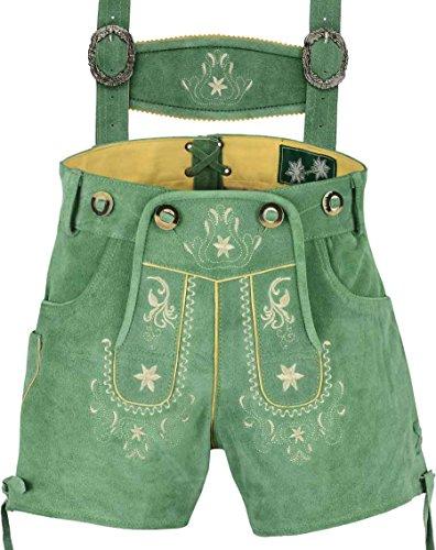 Russische Trachten - Edle Kurze Damen Lederhose mit Träger,