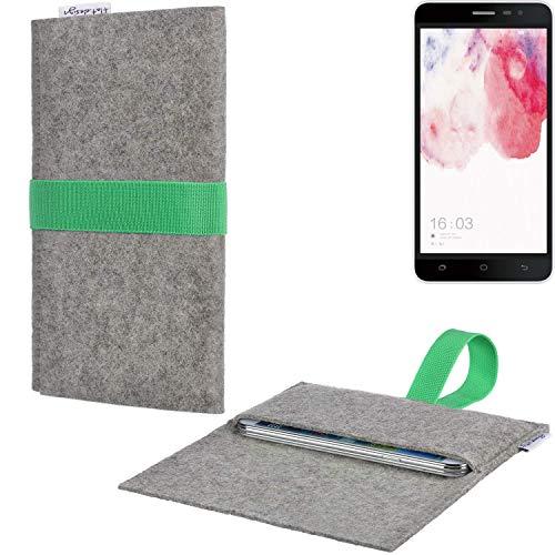 Handyhülle AVEIRO mit Filz-Deckel und Gummiband-Verschluss für Hisense F20 Dual-SIM - Sleeve Case Etui Filz Made in Germany hellgrau grün - passgenaue Smartphone Tasche für Hisense F20 Dual-SIM