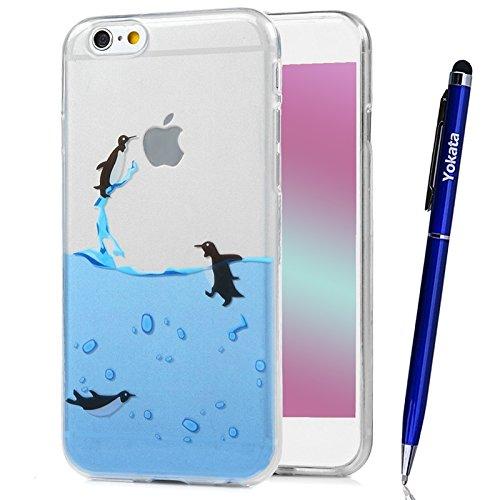 Für iPhone 6 / iPhone 6S Cover, Yokata Transparent Comic Motiv TPU Soft Case mit Weich Silikon Bumper Crystal Clear Klar Schutzhülle Durchsichtig Dünne Case Hülle + 1 X Stylus Pen - Macaron Pinguin