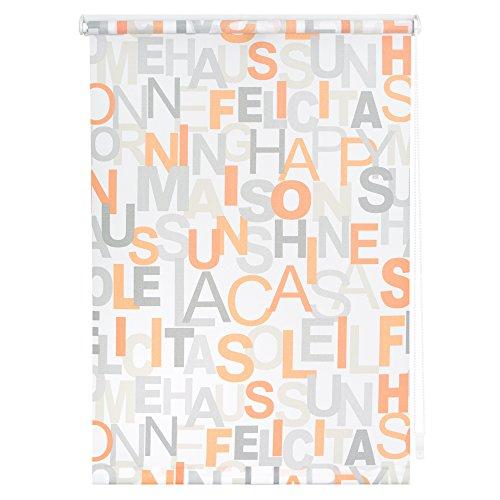 Lichtblick KRT.060.180.106 Rollo Klemmfix, ohne Bohren, blickdicht, Happy Words - Weiß-Orange 60 cm x 180 cm (B x L) (Wand-dekor Y, Metall Buchstaben)