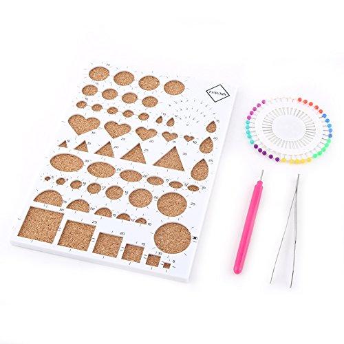 DIY Papier Handwerk Quilling Tools Sets (4 Farben Optional) mit Kork Quilling Vorlage Board + Pinzette + Nadeln + Schlitz Stift Quilling Werkzeuge(Weiß) (Papier-perlen-handwerk Kit)