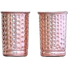 2 vasos de cobre Healthgoodseu martillados con tapa, Ayurveda Health Benefit de HealthGoodsEU