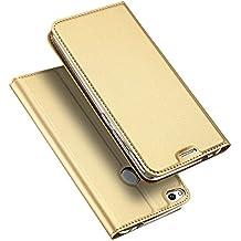 Huawei P8 Lite 2017 Funda Case, TOTOOSE Lujo Cuero Funda Case Delgado Diseño del libro Flip magnético Estar Cubierta protectora con Ranura para tarjetas para Huawei P8 Lite 2017 Dorado