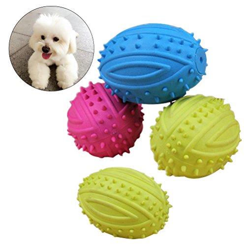 UEETEK 4 piezas de mascota de pelota de perro de mascota bola de buscar masticar, balón de goma de rugby de fútbol para perros pequeños (color aleatorio)