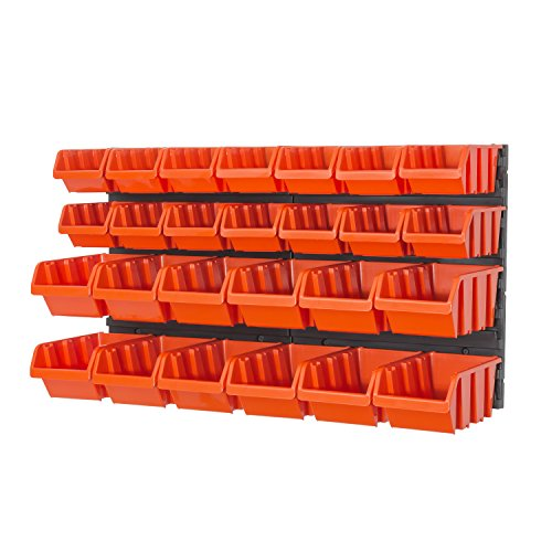 Preisvergleich Produktbild 28 teilg. Wandregal Lagerregal Regale inkl. Stapelboxen Gr. 2, Gr. 3 orange Werkstatt