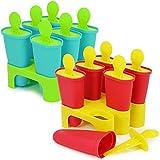 COM-FOUR® 2-teiliges Stieleisform-Set in verschiedenen Farben, Eisformen für Eis am Stiel, Wiederverwendbare Eis-Formen für 12 Portionen (12x Eisform - rot/gelb + blau/grün)