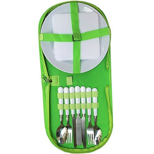 Camping Kitchen Utensil Organizer Travel Set Camp Cutlery Sets for 2 Person Camping Dinnerware Perfect for Hiking Outdoors Travel Picnics CB01