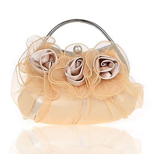 Nuovo fiori borsa borsa borsa da sera sposa di modo della borsa banchetto ( Colore : Rose red ) Beige