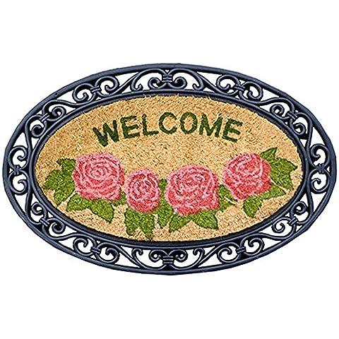 Zerbino COCORUBBER 45 x 75 cm realizzato in naturale fibbra di cocco con bordo in gomma. Disegno Oval Roses. Rose ovale. - Disegno Di Gomma Zerbino