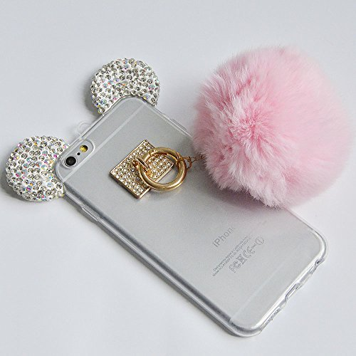 iPhone SE Hülle, iPhone 5s Hülle, iPhone 5 Hülle, Vandot Schutzhülle iPhone SE 5S 5 Case Handmade Diamant Bling Handyhülle TPU Silikon Weich Soft Transparent Zurück Cover Crystal Glitzer Glänzend Hand Ball Pink Rosa