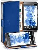 moex® Booklet mit Flip Funktion [360 Grad Voll-Schutz] für HTC One M8 | Geldfach & Kartenfach + Stand-Funktion & Magnet-Verschluss, Dunkel-Blau
