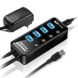 ECHTPower USB Hub 4-Port USB 3.0 Hub Aktiv, USB 3.0 Datenhub USB Verteiler mit Ein Aus Schaltern, 15W(5V/3A) Netzteil Stromversorgung, SuperSpeed bis zu 5Gbp Datenhub