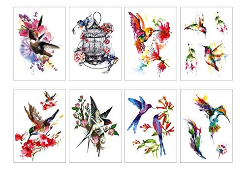 Spestyle 8pcs Birds Temporary Tattoo - Tatouages ​​temporaires à la mode