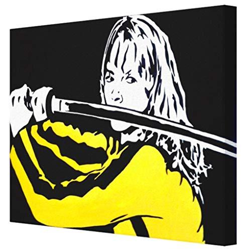 - KILL BILL BEATRIX KIDDO (UMA THURMAN) TARANTINO QUADRO - STAMPA SU TELA, STRETCHED CANVAS PRINT, DRUCK AUF KEILLENWAND, IMPRESSION SUR TOILE - Riproduzione dal dipinto originale (32 x 25 CM)