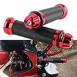 "Empuñadura de Manillar de Motocicleta de 7/8"" 22mm, Antideslizante Caucho Empuñaduras de Moto Manillar (Rojo)"